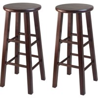 "Winsome Wood Pacey 29"" Bar Stools, Set of 2, Antique Walnut"