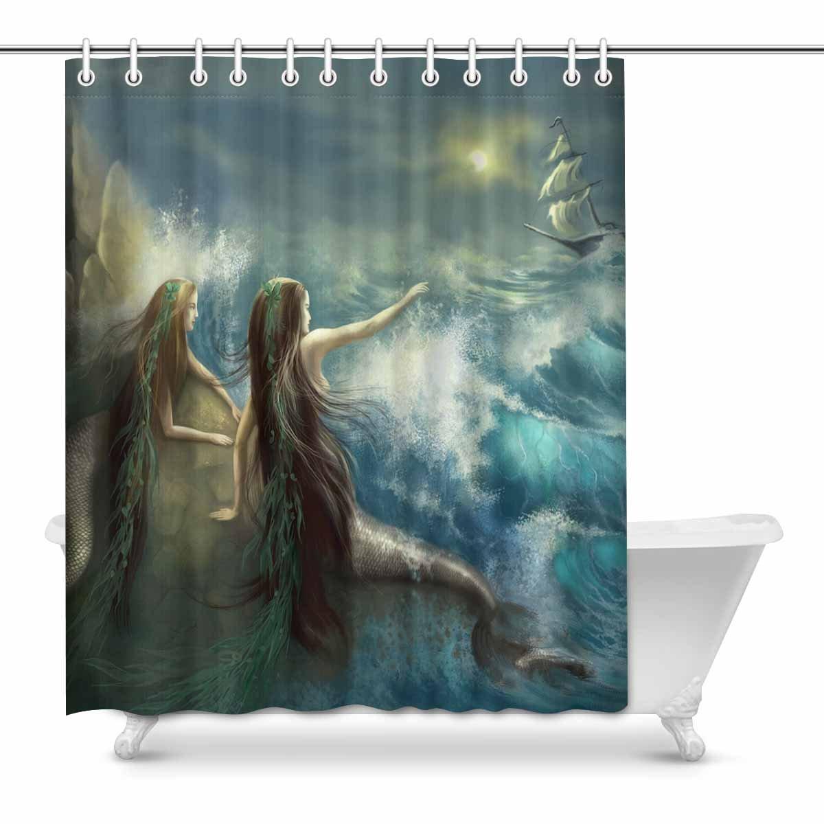 Zblx Palms Ocean Tropical Island Beach Decor Shower Curtain