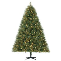 Holiday Time 7.5ft Pre-Lit Prescott Pine Artificial Christmas Tree with 600 LED Clear Lights - Green