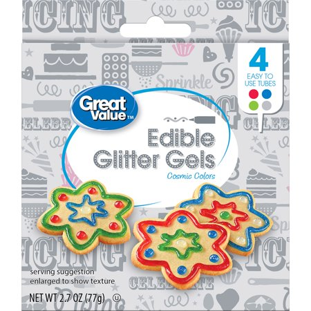 (3 Pack) Great Value Edible Glitter Gels, Cosmic Colors, 4 Count