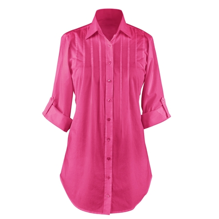 Miss Me Tunic (Women's Button Down, Collared, Roll Sleeve Tunic Top, Large, Fuchsia)