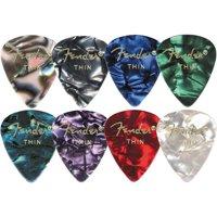 Fender 351 Premium Celluloid Guitar Picks, 12 Pack, Green Moto, Thin
