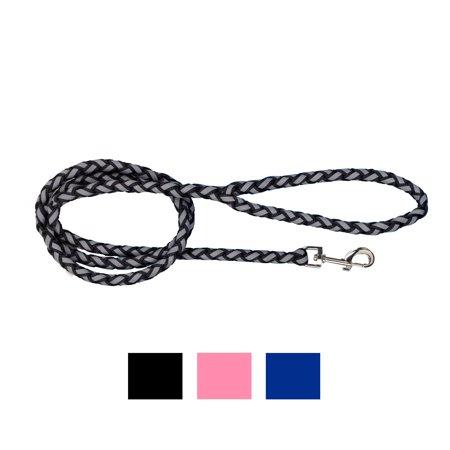 Vibrant Life Reflective Rope Dog Leash, Black, 5-ft