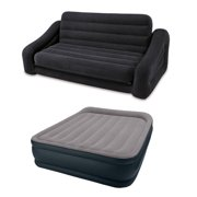 Intex Inflatable Queen Size Pull-Out Futon Sofa Couch Bed + Deluxe Queen Air  Bed 8c8d432f86752