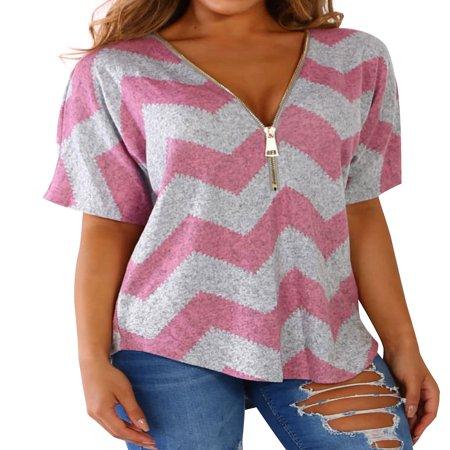 711ONLINESTORE Women Zipper V Neck Short Sleeve Color Block Blouse