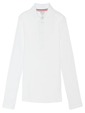 Girls Long Sleeve Picot Collar Interlock Polo