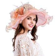 Women s Organza Church Kentucky Derby Fascinator Bridal Tea Party Wedding  Hat ffbf83939045