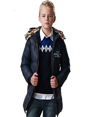 Leo&Lily Big Boys winter Long Down Padded Puffer Jacket with Hood