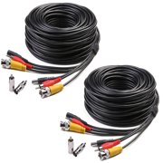 Masione 2 Pack 150 Feet Audio Video Power Security Camera Cables with BNC RCA Connectors for