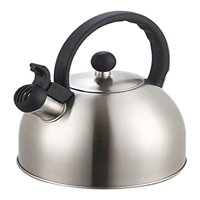 Diamond Home Stainless Steel Large Tea Whistling Kettle with Trigger Spout Stainless Steel Silver