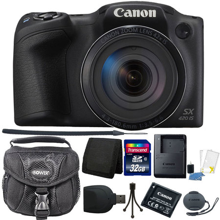 "Canon PowerShot SX420 IS 20.0MP HD 720p Video Recording 1.2.3"" CCD 42x Optical Zoom Lens 24-1008mm (35mm Equivalent) Built-In Wi-Fi ISO 1600 Black Digital Camera 32GB Accessory Kit"