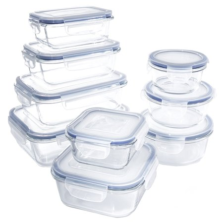 18 piece Glass Food Container Set with Locking Lids - BPA Free - Dishwasher, Oven, Microwave Safe (4 Glass Gift Box)