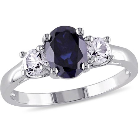 2-5/8 Carat T.G.W. Oval and Round-Cut Created Blue and White Sapphire Sterling Silver Three Stone Engagement Ring
