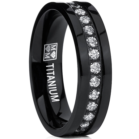 Matte Polished Titanium Ring (Black High Polish Titanium Eternity Ring Band With Clear Cubic Zirconia 6mm Comfort Fit)