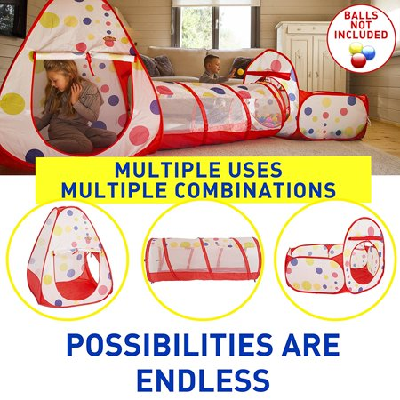Yosoo Portable Children Play Tent Playhouse 3 in 1 Pop up Playhouse with Crawl Tunnel Ball Pit Tent for kids Indoor and Outdoor To - Play Tents For Kids