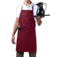 MHF Aprons-1 Piece Pack-Three pocket Adjustable Neck Bib Apron-Poly Spun for Home/commercial/Restaurant Kitchen