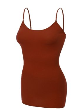 Emmalise Women's Basic Casual Long Camisole Cami Top Regular and Plus Sizes