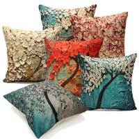 Meigar Flower Cotton Linen Decorative Throw Pillow Case Cushion Cover Clearance 18x18 inch Square Zipper Waist Pillowcase Pillow Protector Slip Cases Sham for Couch Sofa Home
