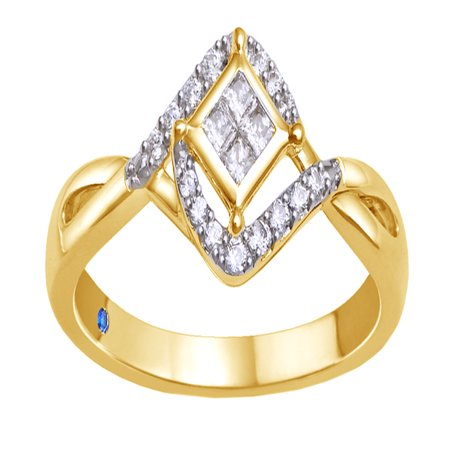 Princess Cut White Diamond Tilted Promise Ring in 10k Yellow Gold (0.2