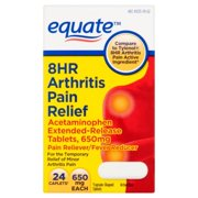 Equate 8Hr Acetaminophen Arthritis Pain Reliever/Fever Reducer Extended-Release Tablets, 650 mg, 24 Ct