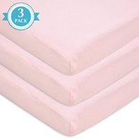 TL Care 3-Piece 100% Cotton Value Jersey Knit Fitted Portable Mini Sheet, Pink