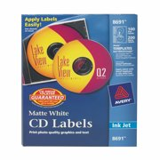 Avery CD Labels, Matte White, 100 Face Labels/200 Spine Labels (8691)