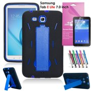 Samsung Galaxy Tab E Lite 7.0 Case, EpicGadget Heavy Duty Rugged Impact Hybrid Case with Build In Kickstand Protection Cover For Galaxy Tab E Lite 7 Inch Tablet T113 + Screen Film+ Pen (Black/Blue)
