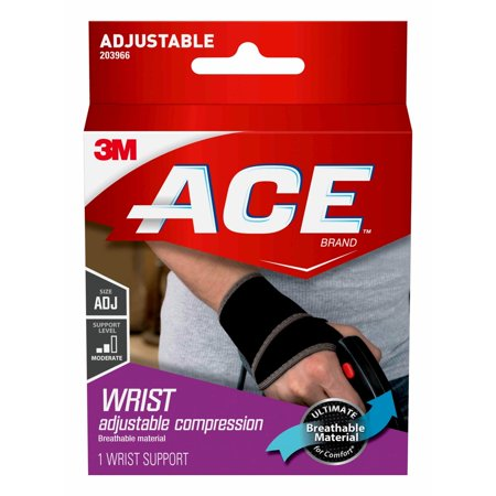 ACE Brand Wrist Support, Adjustable, Black, (Soft Form Elegant Wrist Support)