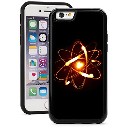 For Apple iPhone Shockproof Impact Hard Soft Case Cover Science Atom (Black for iPhone 7)