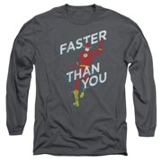481d0baa The Flash DC Comics Superhero Faster Than You Adult Long-Sleeve T-Shirt