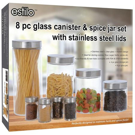 Decorated Storage Canisters (Estilo 8 Piece Glass Canisters And Spice Jar Set With Stainless Steel Screw On Lids )