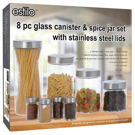 Estilo 8 Piece Glass Canisters And Spice Jar Set With Stainless Steel Screw On Lids ()
