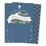 1c9fba886fd Baptism  2 Invitations Invite Cards (25 Count) With Envelopes   Seal  Stickers Vinyl