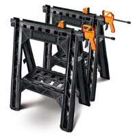 Clamping Sawhorses, pair with 2 clamps WX065