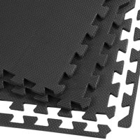 Clevr Interlocking EVA Foam Mat Cushion Flooring Tiles, Black - Set of 24 (2' x 2') Covers 96 sq.ft. for Gym Workout Exercise
