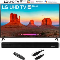 """LG 65UK6300PUE 65""""-Class 4K HDR Smart LED AI UHD TV w/ThinQ (2018 Model) with Vivitar 24-Inch Wall Mountable Wireless Bluetooth Soundbar and 6ft Optical Toslink 5.0mm OD Audio Cable"""