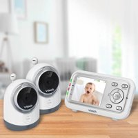 VTech VM3251-2, Expandable Digital Video Baby Monitor with 2 Cameras and Automatic Night Vision, white