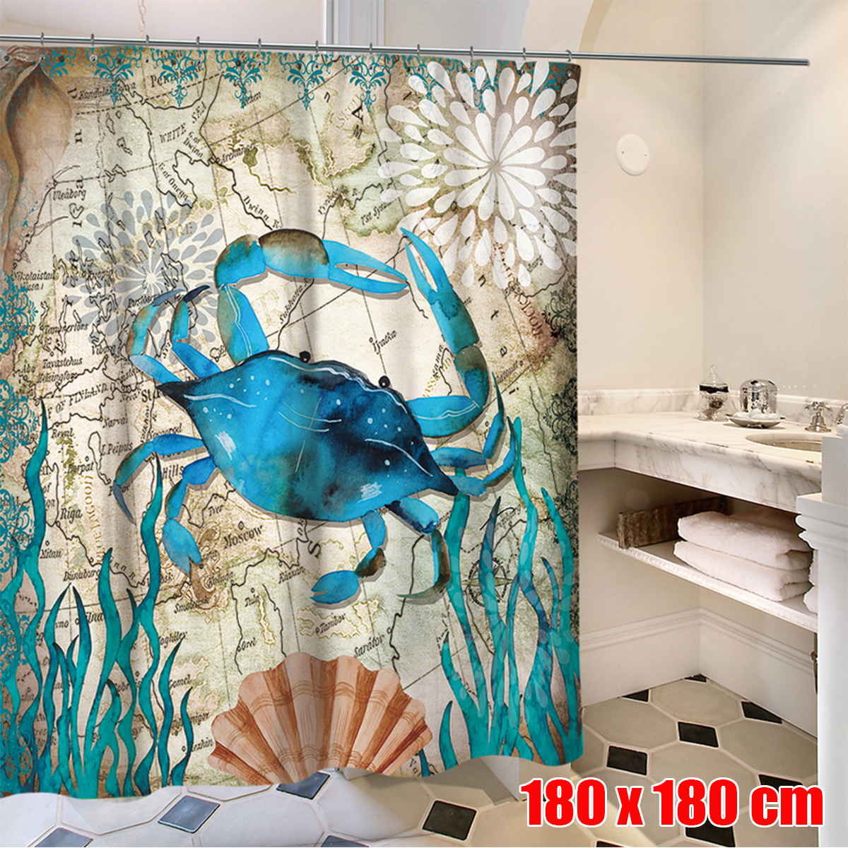Bathroom Supplies Accessories Whale Fishes Crab At Sea