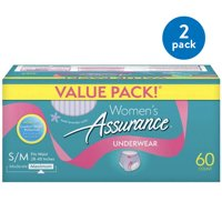 (2 Pack) Assurance Incontinence Underwear for Women, Maximum, S/M, 60 Ct