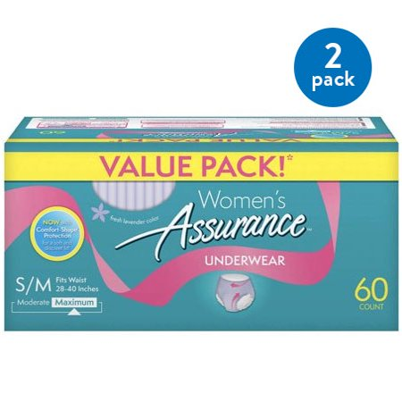 (2 Pack) Assurance Incontinence Underwear for Women, Maximum, S/M, 60