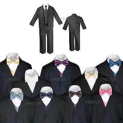 BABY BOY TODDLER KID TEEN WEDDING PROM BLACK TUXEDO SUIT + VEST BOW TIE SZ: S-20 - Prom Suit