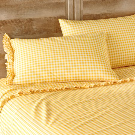 The Pioneer Woman Gingham Yellow Ruffle Full Sheet Set ()