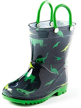 Puddle Play Children's Boys' / Girls' Monster Trucks, Nautical, Dinosaurs, Hearts Shapes, Flower shapes and Polka Dots Printed Waterproof Easy-On Rubber Rain Boots (Toddler/Little Kids)