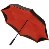 BetterBrella, Reverse Open Close Umbrella, Wind Proof Design (Black/Red)