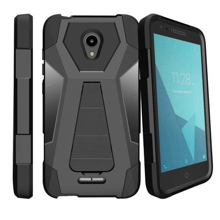 Black Premium Silicone Cover - Premium Hybrid Silicone Alcatel Raven LTE Case with Kickstand [Shock Fusion Case for Alcatel IdealXcite] Alcatel Raven LTE Cover w/ Retractable Kickstand Shell - Black