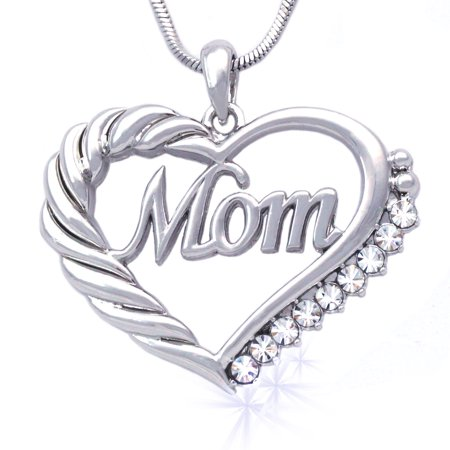 cocojewelry Mother's Day MOM Word Engraved Heart Love Pendant Necklace Gift For (Green Stone Pendant Necklace)