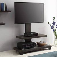 """Whalen 2-Shelf Television Floater Mount for TVs up to 55"""", Perfect for Flat Screens, Weathered Dark Pine Finish"""