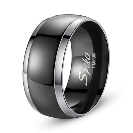 Devuggo 8MM Black Elegant Titanium Ring Band Gifts for Men Sizes 9 to 13
