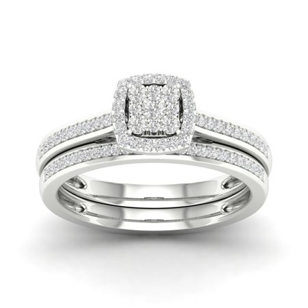 1/5Ct TDW Diamond S925 Sterling Silver Cushion Shape Cluster Halo Bridal Set (I-J, I2)