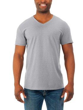 Big Mens' Soft Short Sleeve Lightweight V Neck T Shirt, 4 Pack